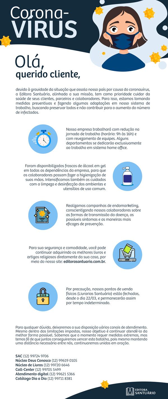 Informativo de funcionamento da Editora Santuário na quarentena do Coronavírus