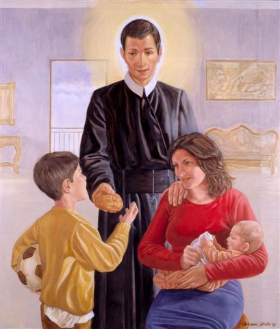 Imagem - São Geraldo Majela abençoando uma mãe e seus filhos